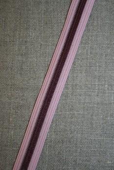 5 mtr. Stribet elastik rosa - bordeaux- med små fejl !!