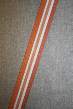 Elastik til undertøj 33 mm. stribet orange - brændt orange