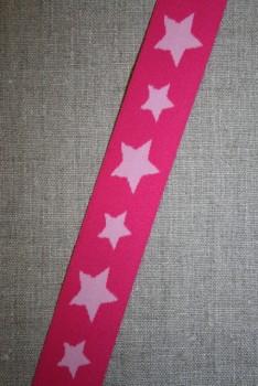 Elastik til undertøj 30 mm. med stjerner, pink-lyserød