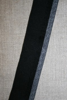 Elastik til undertøj 40 mm. stribet koksgrå grå