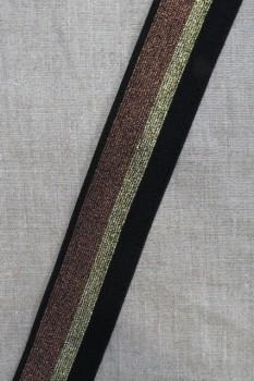 Elastik med glimmer 40 mm. sort guld kobber
