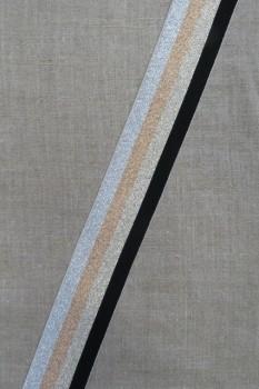 Elastik med glimmer 40 mm. sort guld kobber sølv