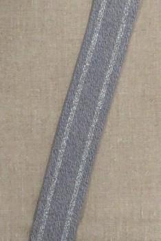 Elastik med sølv striber i grå-meleret, 40 mm.