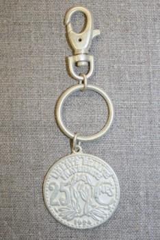 Karabinhage m/vedhæng mønt hvig/gl.sølv