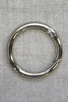Rund Karabinhage i sølv 40 mm.