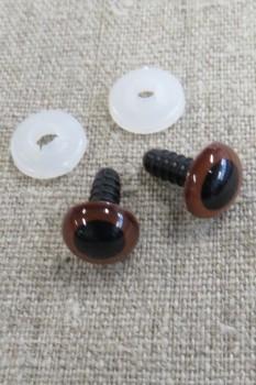 Bamse Øjne m/låsering/sikkerhedsøjne 15 mm. brun / sort