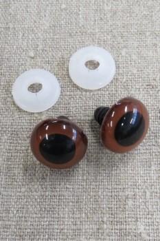 Bamse Øjne m/låsering/sikkerhedsøjne 18 mm. brun / sort