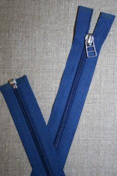 69 cm lynlås m/sølv vedhæng, koboltblå