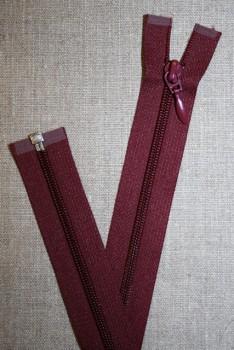 46 cm. delbar lynlås, bordeaux