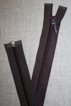 46 cm. delbar lynlås, mørkebrun