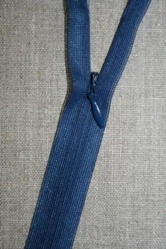 40 cm. usynlig lynlåse, støvet blå