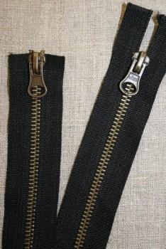 60 cm. 2-vejs jakke-lynlås 6 mm. antik messing/sort