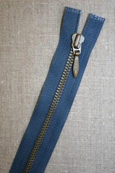 25 cm. delbar lynlås blå/antik messing, YKK