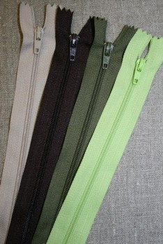 25 og 30 cm. lynlås/kjolelås