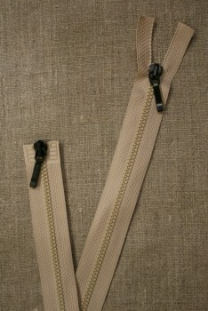 80 cm. lynlås 2-vejs m/sort skyder, beige