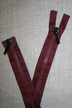 80 cm. lynlås 2-vejs m/sort skyder, bordeayx