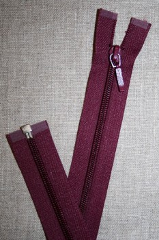 27 cm. delbar lynlås YKK, vinrød