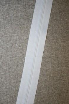 Lynlås i metermål, hvid