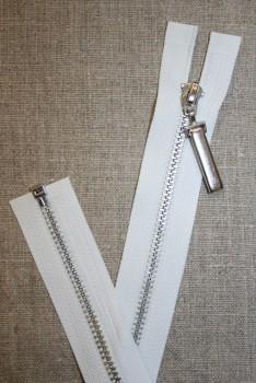 36 cm. delbar lynlås hvid m/stort sølv-vedhæng