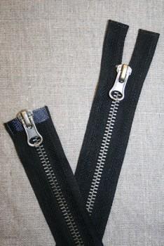 35 cm. 2-vejs delbar metal lynlås sort/gl.sølv