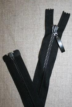 42 cm. delbar metal lynlås m/stort vedhæng, sort