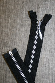 16 cm. delbar lynlås i sort YKK m/dråbe-skyder