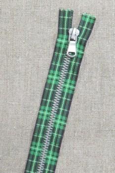 18 cm. lynlås metal grøn m/skotsk tern
