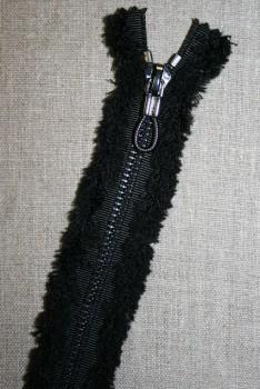 25 cm. lynlås metal sort med plys
