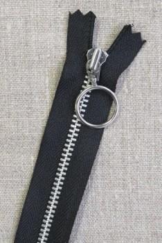 25 cm. lynlås 4 mm aluminium fast med ring i sort