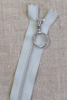 35 cm. lynlås 4 mm aluminium fast med ring i lysegrå