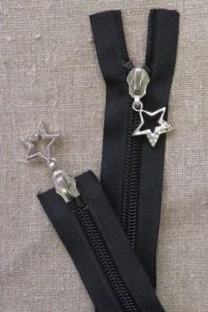 35 cm. sort delbar 2-vejs lynlås med stjerne vedhæng