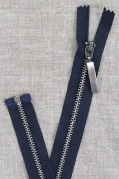 56 cm. delbar metal lynlås m/stort vedhæng, mørkeblå