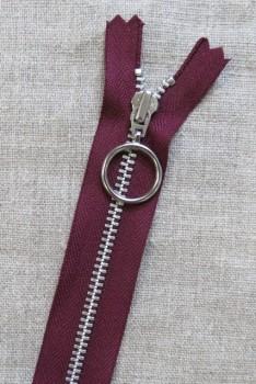 25 cm. lynlås 4 mm aluminium fast med ring i bordeaux
