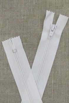 20 cm plast lynlås i hvid