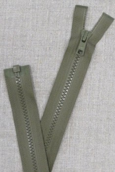 52 cm. delbar plast lynlås i oliven/army fra YKK