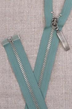 62 cm. delbar lynlås i lys irgrøn - gl.sølv