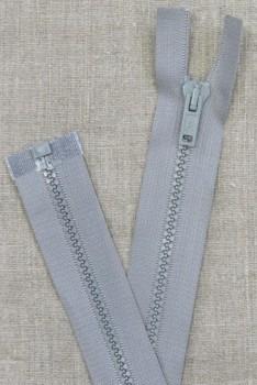 48 cm. delbar plast lynlås i lysegrå