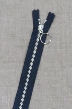 25 cm. lynlås 4 mm aluminium fast med ring i mørkeblå