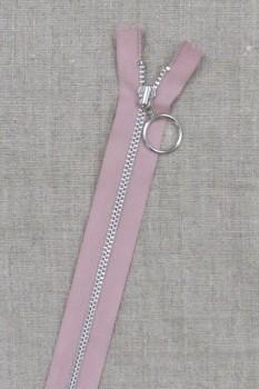 30 cm. lynlås 4 mm aluminium fast med ring i gammel rosa