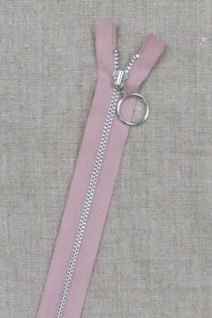 35 cm. lynlås 4 mm aluminium fast med ring i gammel rosa