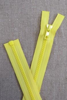 50 cm. delbar plast lynlås i lys gul, YKK