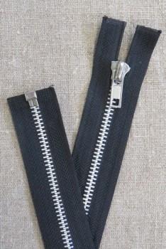 54 cm. delbar metal lynlås med sølv tænder, sort
