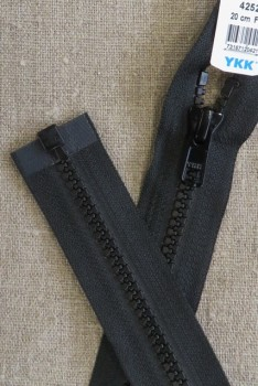 20 cm. delbar plast lynlås i sort, YKK