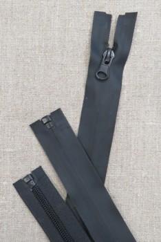 40 cm. vind/-vand afvisende delbar lynlås i sort