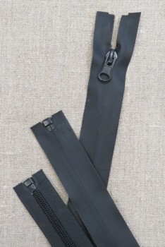 70 cm. vind/-vand afvisende delbar lynlås i sort