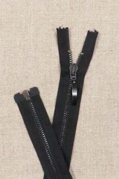 56 cm. delbar metal lynlås m/stort vedhæng, sort