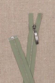 59 cm. delbar lynlås i lys støvet grøn - gl.sølv