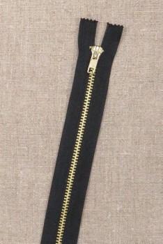 20 cm. metal lynlås i sort og guld