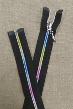 40 cm. delbar lynlås sort og multifarvet