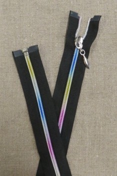 45 cm. delbar lynlås sort og multifarvet